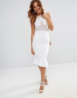 Asos DESIGN Lace Applique & Mesh Mix Bodycon Midi Dress With Pephem