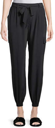 Go Silk Belted Silk Cargo Pants, Petite