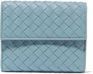 Bottega Veneta - Intrecciato Leather Wallet - Sky blue $550 thestylecure.com
