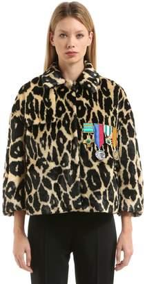 Stella Jean Embellished Leopard Faux Fur Jacket
