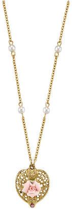 """Gold-Tone Pink Crystal Heart and Pink Porcelain Rose Filigree Necklace 16"""" Adjustable"""