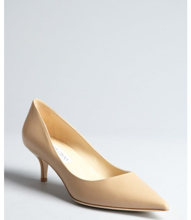 Jimmy Choo nude leather pointed toe 'Aza' pumps