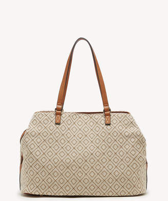 Sole Society Women's Millie Tote Fabric Olive Combo Faux Leather Woven From