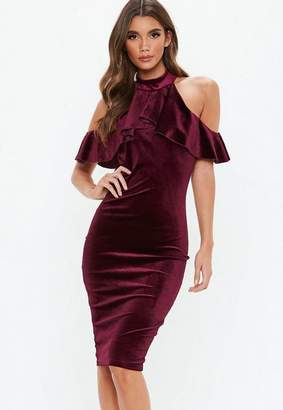 Missguided Burgundy Velvet High Neck Frill Cold Shoulder Midi Dress