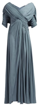 Lanvin Gathered Voile Gown - Womens - Light Blue