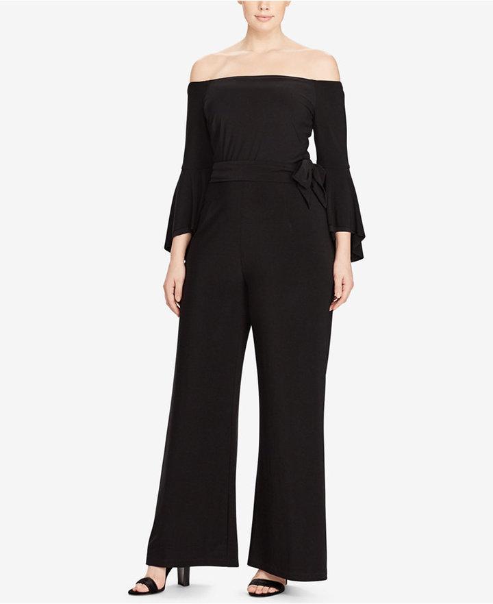 Lauren Ralph LaurenLauren Ralph Lauren Plus Size Off-The-Shoulder Jersey Jumpsuit