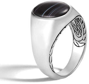 John Hardy Men's Classic Chain Silver Signet Ring with Banded Agate
