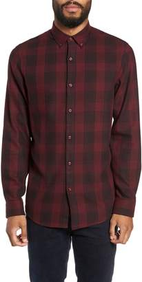 Calibrate Slim Fit Mini Collar Check Flannel Sport Shirt