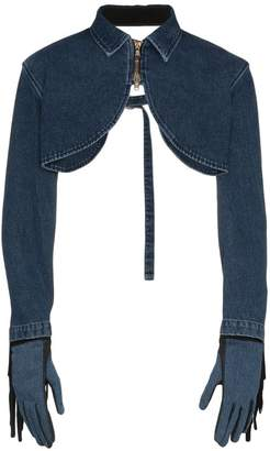 Diesel Red Tag fringe and glove denim bolero jacket