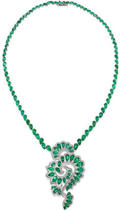 Chopard 18-karat White Gold, Emerald And Diamond Necklace