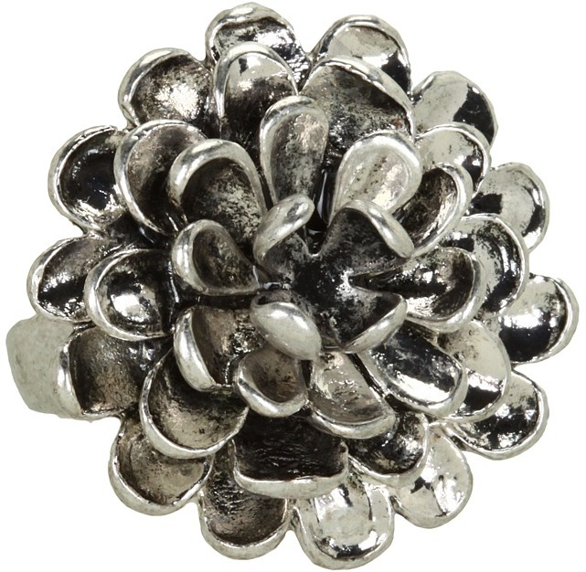 Lucky Brand Rosebud Silver Floral Ring (Silver) - Jewelry