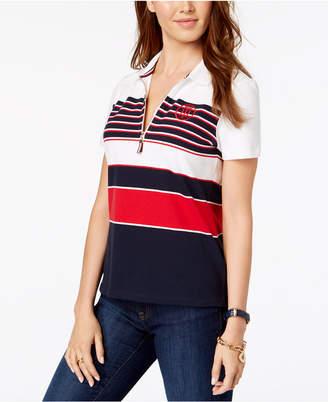 Tommy Hilfiger Striped Quarter-Zip Polo Shirt
