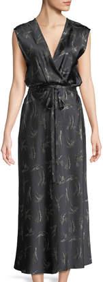 Vince Floral Crossover Midi Dress