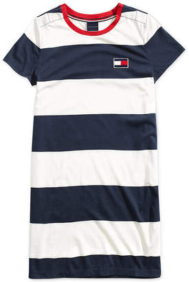 Tommy Hilfiger Adaptive Women's Short-Sleeve Striped Dress with Magnetic Closures at Shoulder