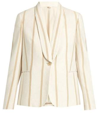 Brunello Cucinelli Striped Single Breasted Cotton Jersey Jacket - Womens - Ivory