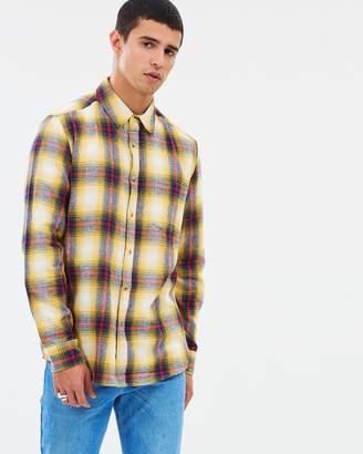 Topman Long Sleeve Wash Check Shirt