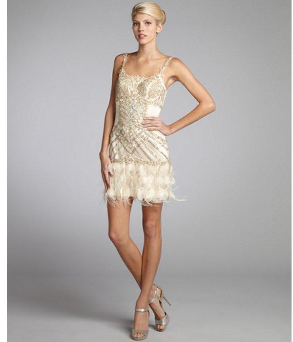 Sue Wong champagne tulle woven sequin flower applique ostrich feather trim dress