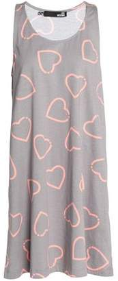 Love Moschino Woman Printed Cotton-jersey Mini Dress Gray Size 38 Love Moschino cOyUobDHc