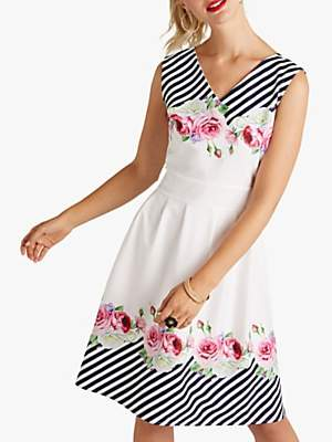 Yumi Mirror Floral Stripe Skater Dress, Ivory