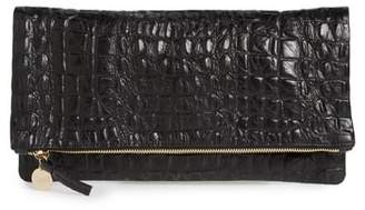 Clare Vivier Croc Embossed Leather Foldover Clutch