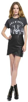Alice + Olivia Fidela Draped Leather Mini Skirt