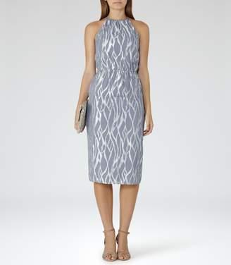 Reiss CASS METALLIC BURNOUT DRESS Grey/Silver