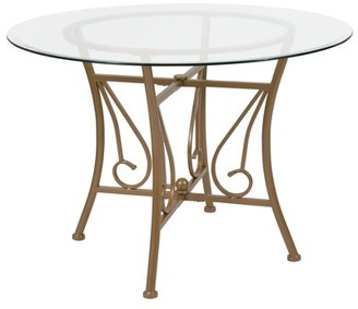 Flash Furniture Princeton 42'' Round Glass Dining Table with Matte Gold Metal Frame