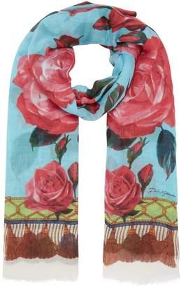 Dolce & Gabbana Floral Cashmere-Silk Scarf