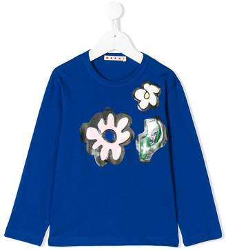 Marni floral patch print top