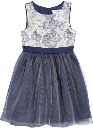Little Angels Sleeveless Brocade Fit & Flare Dress