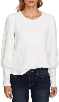 CeCe Puffed Shoulder Paisley Knit Top