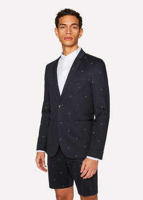 Paul Smith Men's Slim-Fit Dark Navy Floral-Jacquard Buggy-Lined Blazer