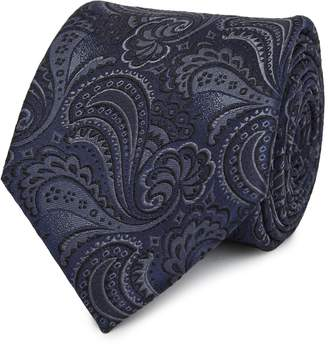 Reiss Our last order date for Christmas has now passed LOGAN SILK PAISLEY TIE Navy