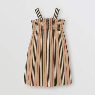 Burberry Smocked Icon Stripe Cotton Dress