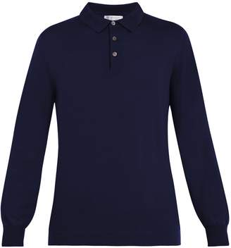 Brunello Cucinelli Point-collar wool-cashmere blend polo shirt