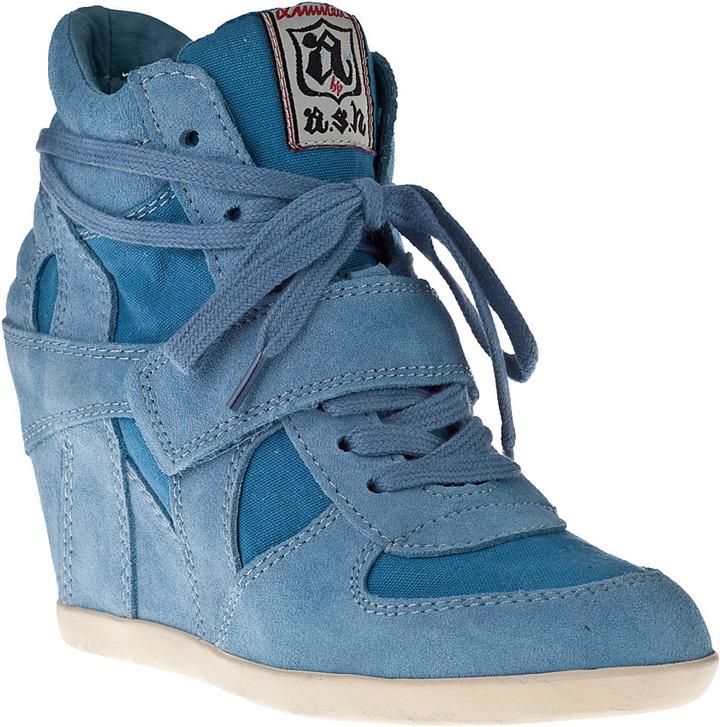 Ash Bowie Wedge Sneaker Denim Suede