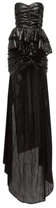ATTICO The Long Train Sequinned Mini Dress - Womens - Black