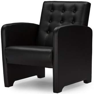 Baxton Studio Jazz Black Faux Leather Upholstered Club Chair