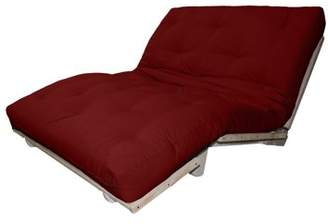 LOFT Comfort Style Lounger All Cotton 8-inch All Cotton Filled Sit, Lounge, or Sleep Futon Sofa Sleeper Bed, Queen, Unfinished, Twill Red