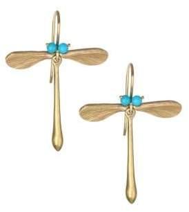 Annette Ferdinandsen Sleeping Beauty Turquoise& 14K Yellow Gold Dragonfly Earrings