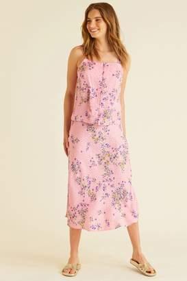 Oliver Bonas Womens Floral Print Spot Jacquard Skirt - Pink