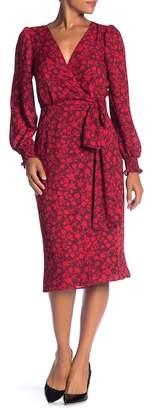 Max Studio Long Sleeve Floral Wrap Dress