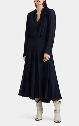 Chloé Women's Lace-Inset Silk Georgette Midi-Dress - Navy