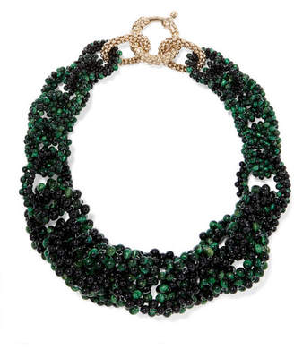 Rosantica Carramato Gold-tone Quartz And Onyx Necklace - Green