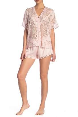 Flora Nikrooz Sleepwear Millie Sheer Lace & Satin Pajama 2-Piece Set