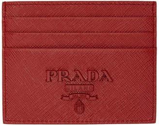 Prada (プラダ) - Prada レッド モノクローム カード ホルダー