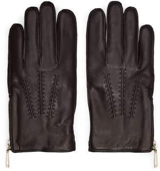 Reiss Rothdale - Leather Zip Detail Gloves in Dark Brown