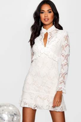 boohoo Boutique Peplum Hem Lace Bodycon Dress