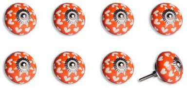 Knob-It! Vintage Hand Painted 8-Pack Ceramic Round Knob Set in Orange/White