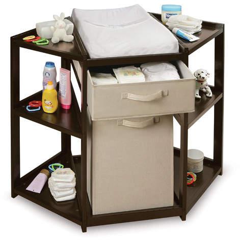 Badger BasketBadger Basket Diaper Corner Baby Changing Table with Hamper and Basket